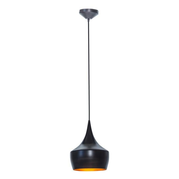 Globe Electric Modern Collection 1 Light Oil Rubbed Bronze Ceiling Hanging Light Fixture With Gold Interior 63871 The Home Depot