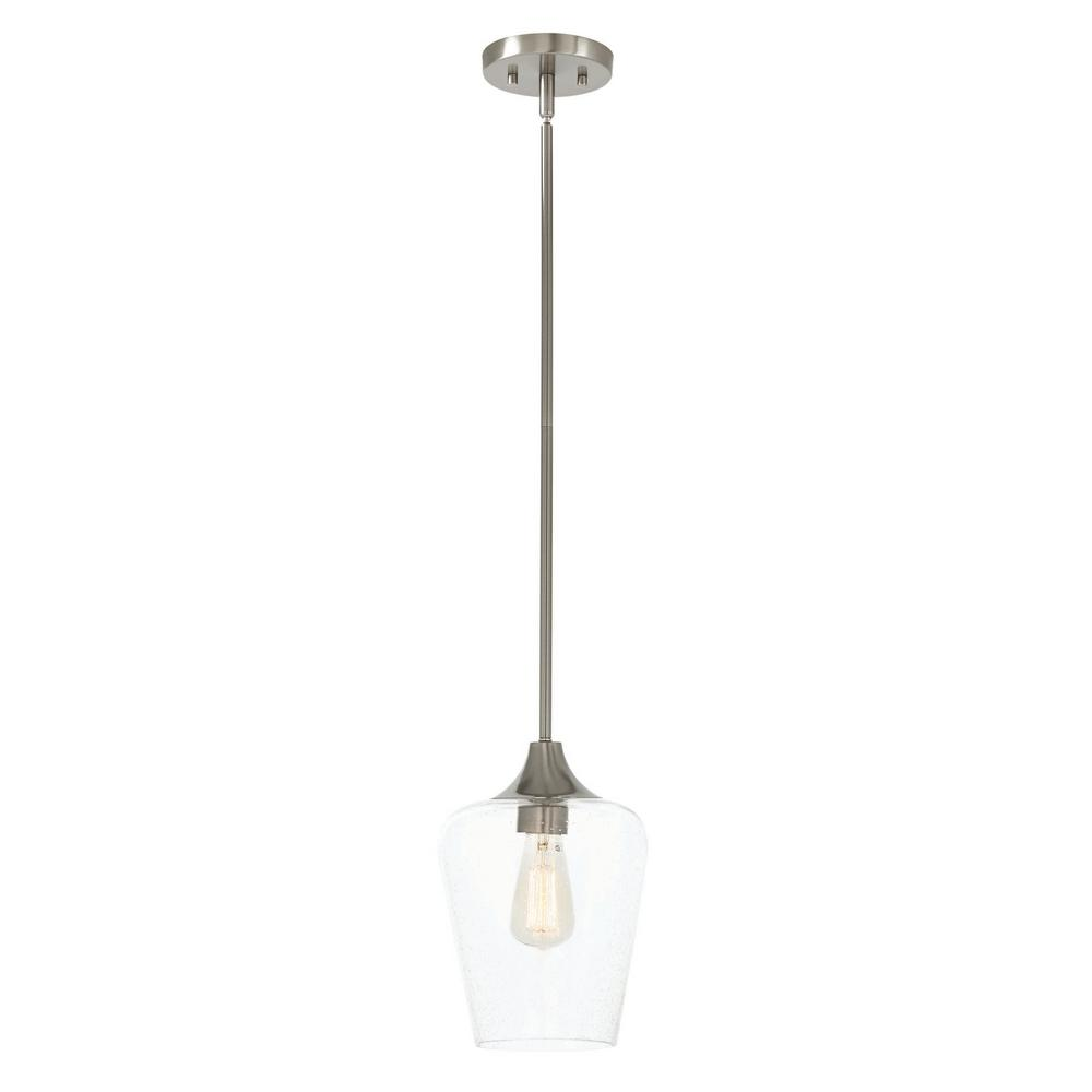 HomeDecoratorsCollection Home Decorators Collection 1-Light Brushed Steel Seeded Glass Pendant