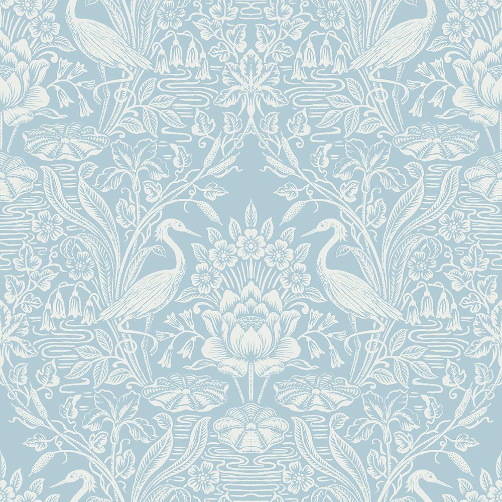 56 4 Sq Ft Elegans Light Blue Crane Toile Wallpaper