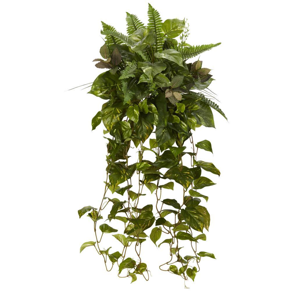 Indoor 36 ft. Mixed Greens Hanging Artificial Plant (2-Set)