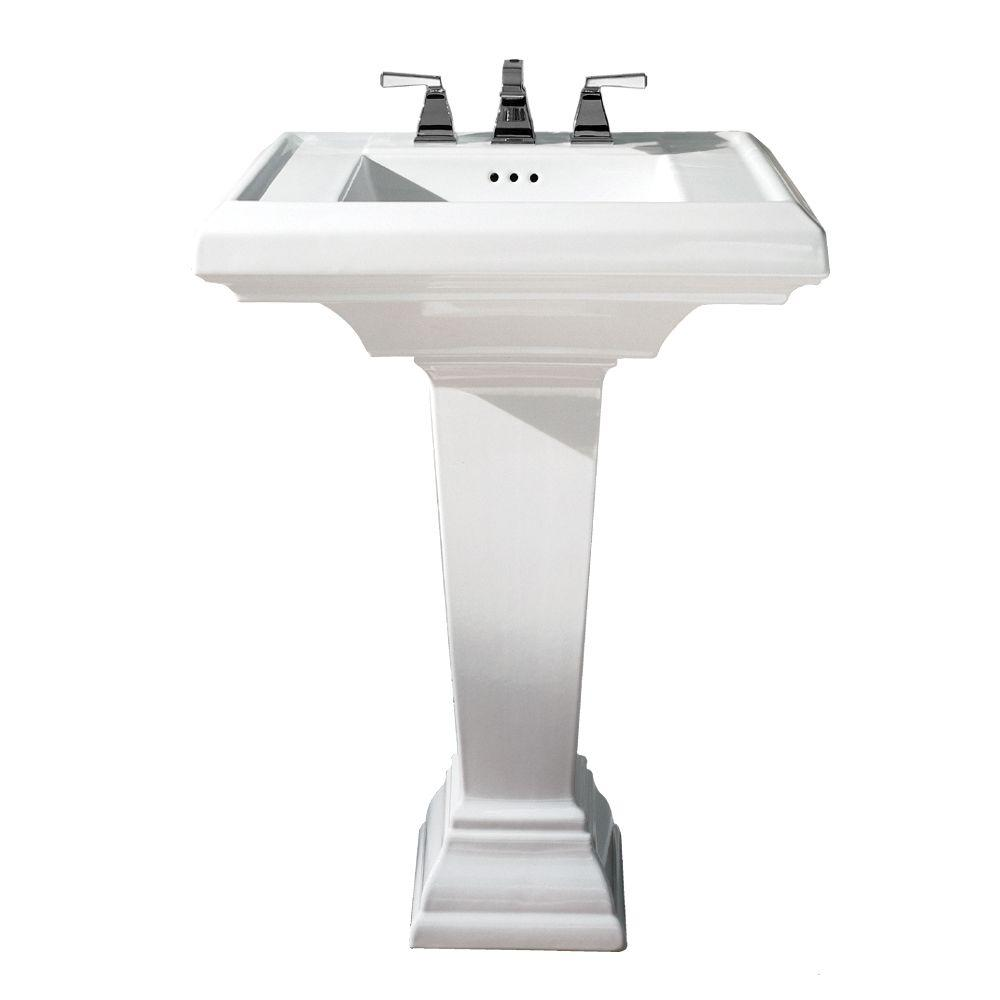 White Ada Compliant Pedestal Sinks Bathroom Sinks The Home Depot