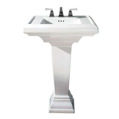 Town Square Pedestal Combo Bathroom Sink in White