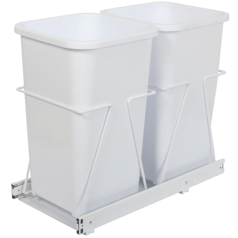 Knape & Vogt 19 in. x 11.38 in. x 23 in. In Cabinet Pull Out Bottom Mount Trash Can
