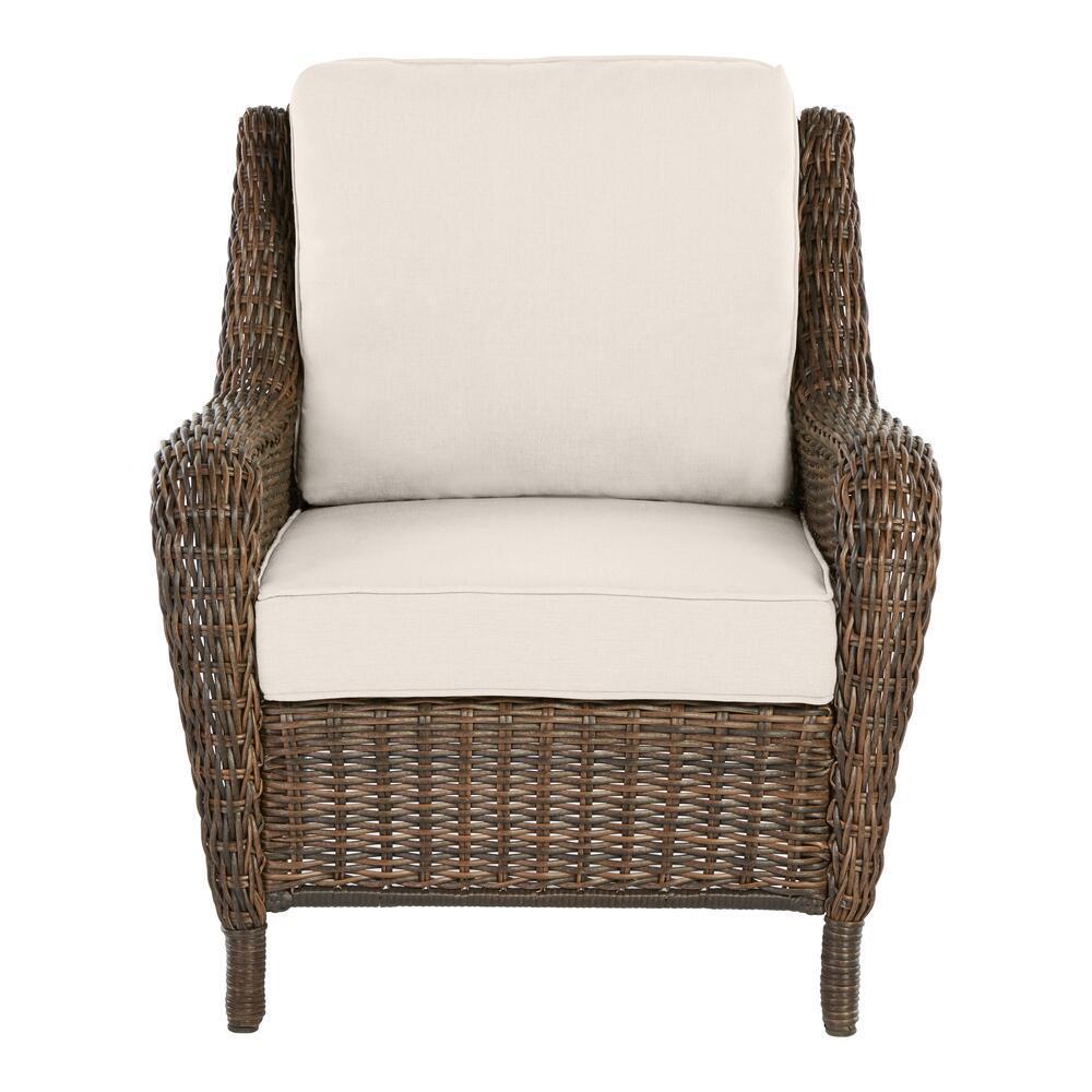 Cambridge Brown Wicker Outdoor Patio Lounge Chair with CushionGuard Almond Tan Cushions