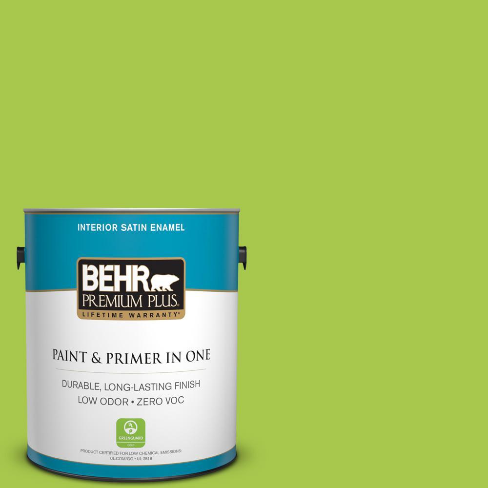 BEHR Premium Plus 1-gal. #420B-5 Sweet Midori Zero VOC Satin Enamel Interior Paint