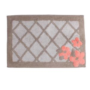 Coral Garden Floral 31 in. x 21 in. Cotton Bath Rug in Tan