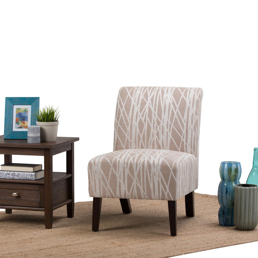 Slipper Chair Simpli Home Woodford Beige And White Fabric Slipper Chair Axcchr