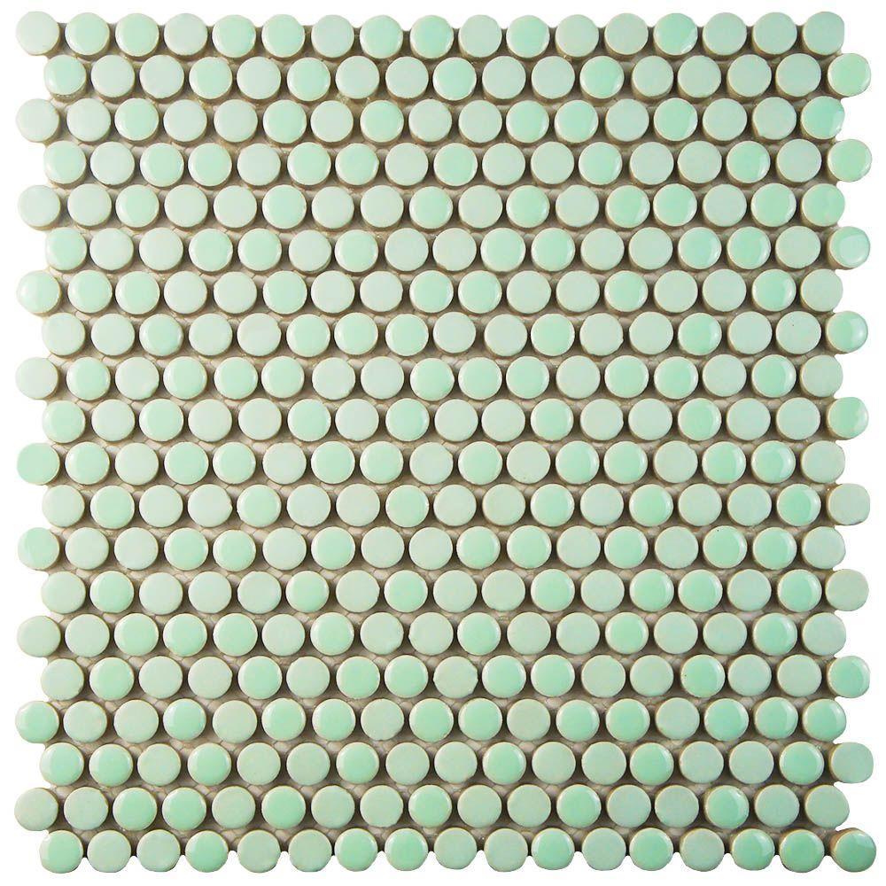 Merola Tile Comet Penny Round Mint 11 1 4 In X