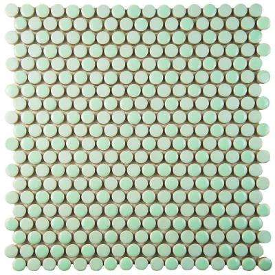 Comet Penny Round Mint 11-1/4 in. x 11-3/4 in. x 9 mm Porcelain Mosaic Tile