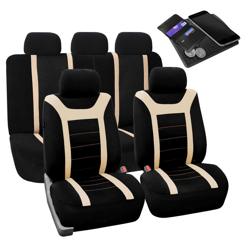 FH Group Fabric 47 in. x 23 in. x 1 in. Full Set Sports Car Seat Covers