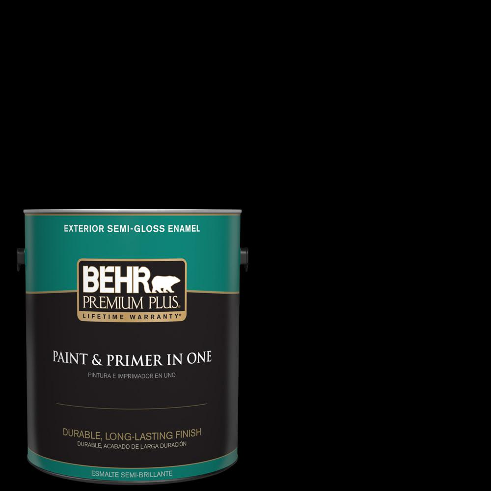 Behr premium plus 1 gal black semi gloss enamel exterior paint and primer in one 534001 the for Behr exterior paint with primer reviews