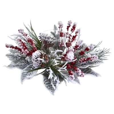 Snowy Magnolia Berry Artificial Arrangement Candelabrum