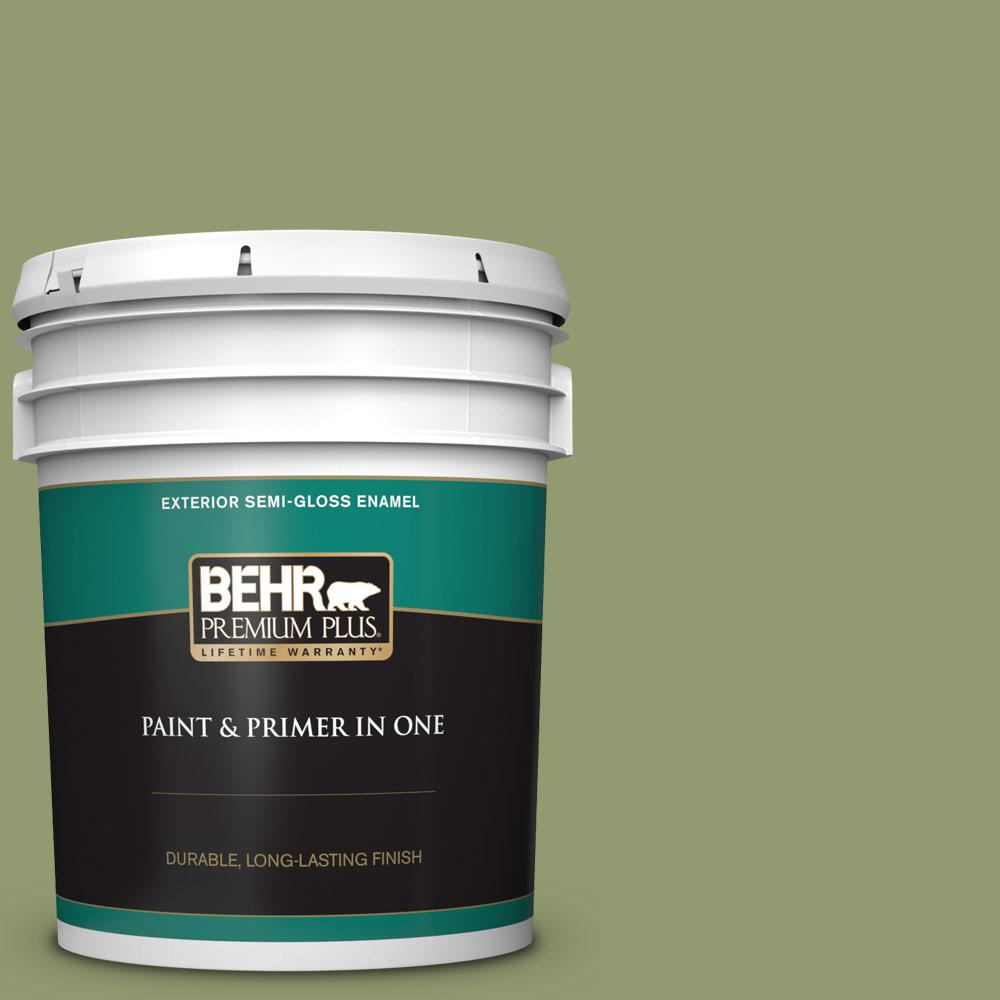 Behr Premium Plus 5 Gal Ppu11 04 Alamosa Green Semi Gloss Enamel Exterior Paint And Primer In One 534005 The Home Depot