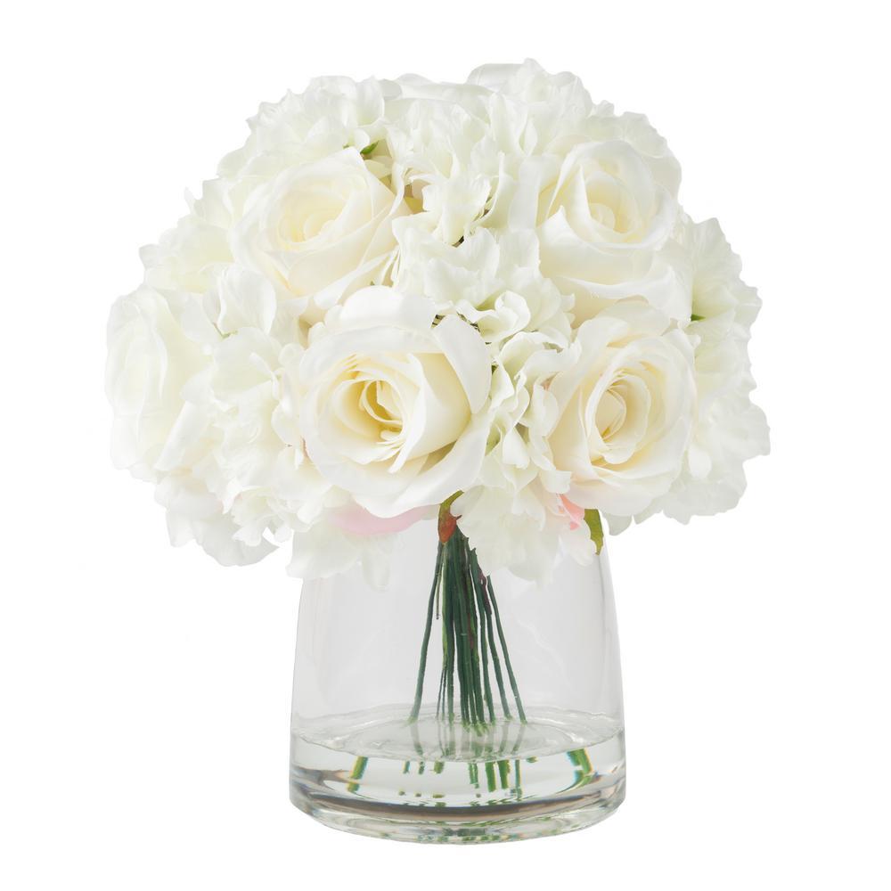 11.5 in. Hydrangea and Rose Floral Cream Arrangement