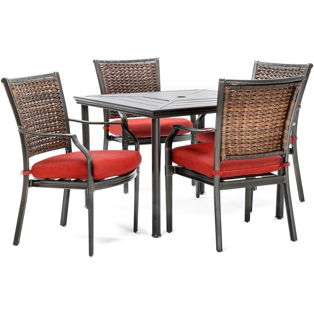 Mercer 5 Piece Aluminum Outdoor Dining Set With Crimson Red Cushions 4 Chairs And A 40 In Square Table