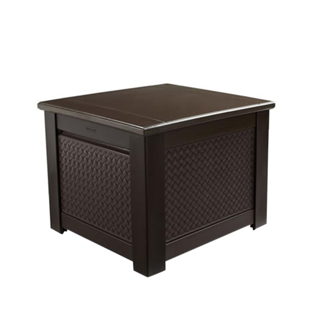 Resin Basket Weave Patio Storage Cube Deck Box In Brown