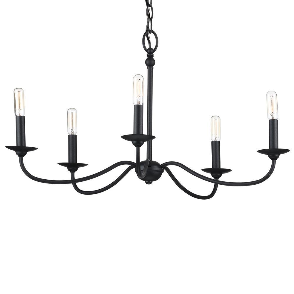 Pacolet 5-Light Textured Black Chandelier