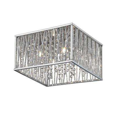 16 in. 4-Light Chrome Square Flushmount with Glass Beads