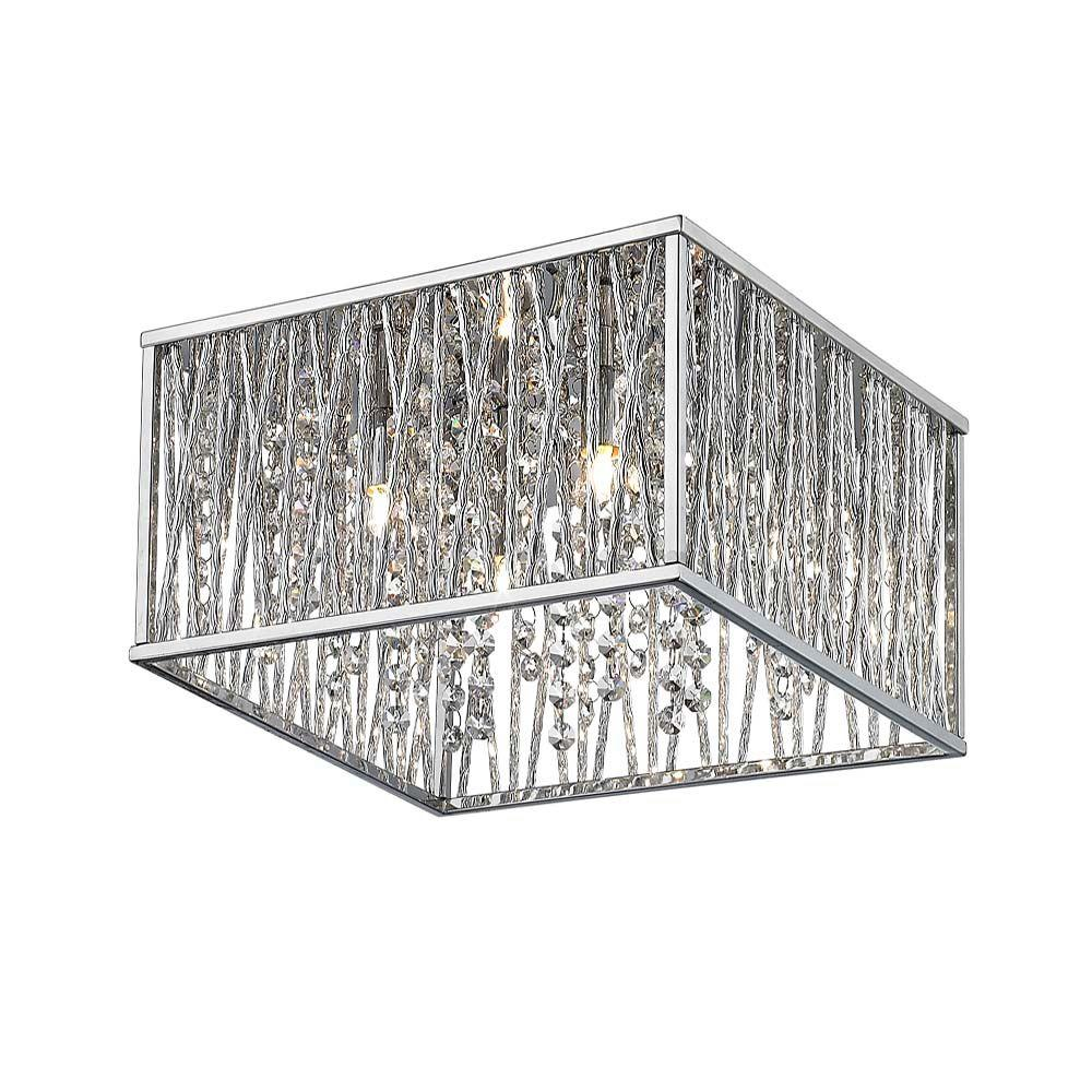 16 In. 4 Light Chrome Square Flushmount With Glass Beads
