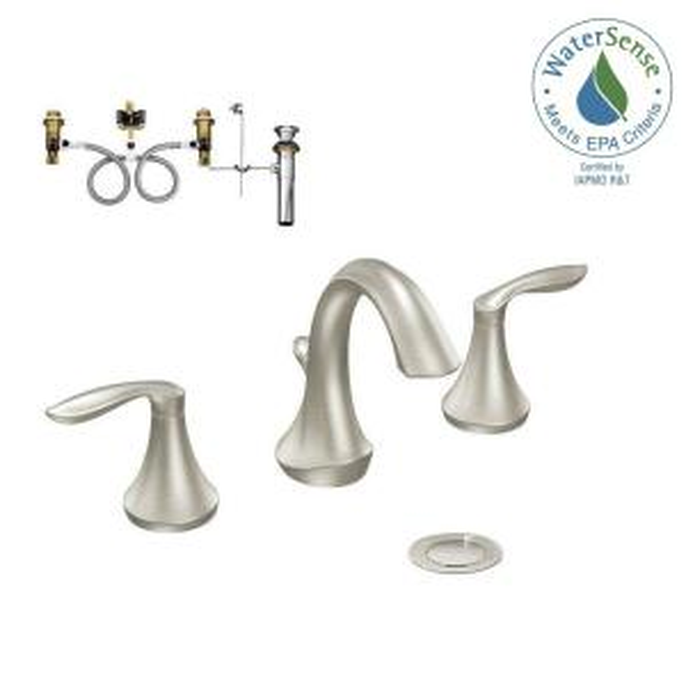 Moen Eva 8 inch Widespread 2-Handle Bathroom Faucet Trim Kit with Valve in Brushed Nickel by MOEN