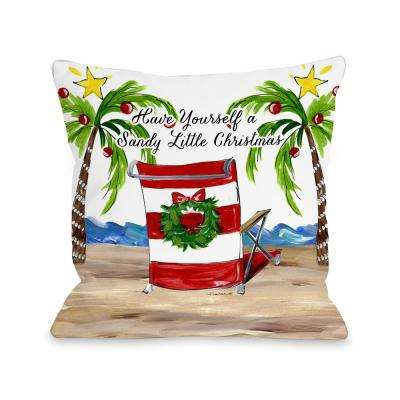 Sandy Christmas Beach Chair 16 in. x 16 in. Decorative Pillow