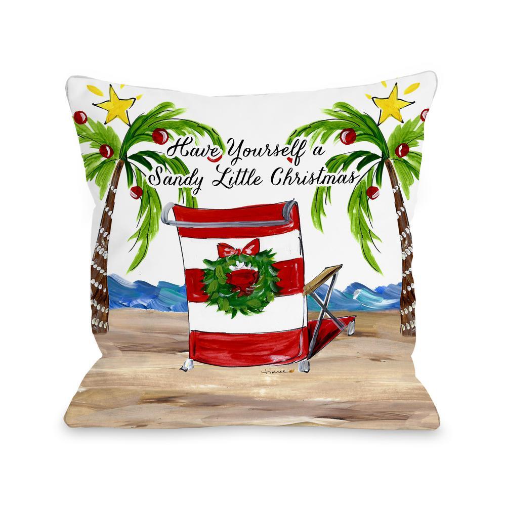 Christmas Pillows.Sandy Christmas Beach Chair 16 In X 16 In Decorative Pillow