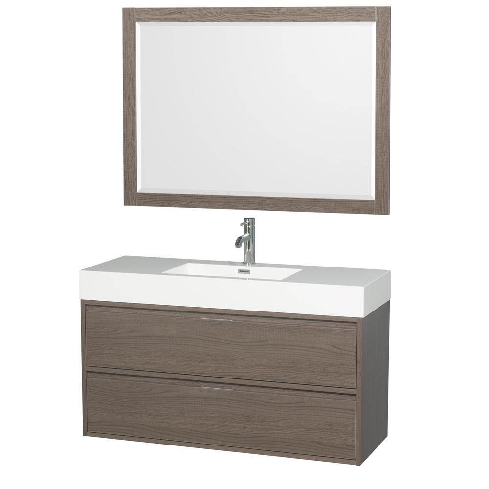 Wyndham Collection Daniella 47.3 in. W x 18 in. D Vanity in Gray Oak with Acrylic Vanity Top in White with White Basin and 46 in. Mirror
