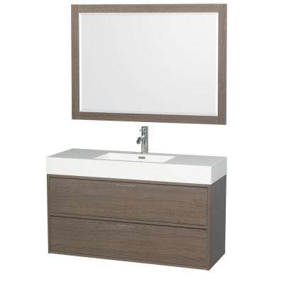 Daniella 47.3 in. W x 18 in. D Vanity in Gray Oak with Acrylic Vanity Top in White with White Basin and 46 in. Mirror