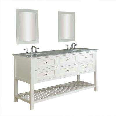 Mission Spa 70 in. Double Vanity in Pearl White with Marble Vanity Top in Carrara White and Mirrors