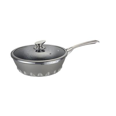 11 in. Die Cast Aluminum Round Wok and Lid With Induction Bottom
