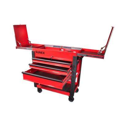 37 in. 3-Drawer Slide Top Utility Cart in Red