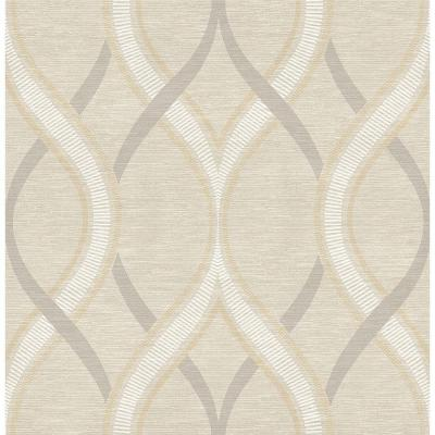 Frequency Beige Ogee Paper Strippable Roll Wallpaper (Covers 56.4 sq. ft.)