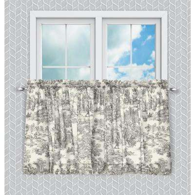 Victoria Park 68 in. W x 24 in. L Toile Grey CottonTailored Tier Pair Curtains in Gray