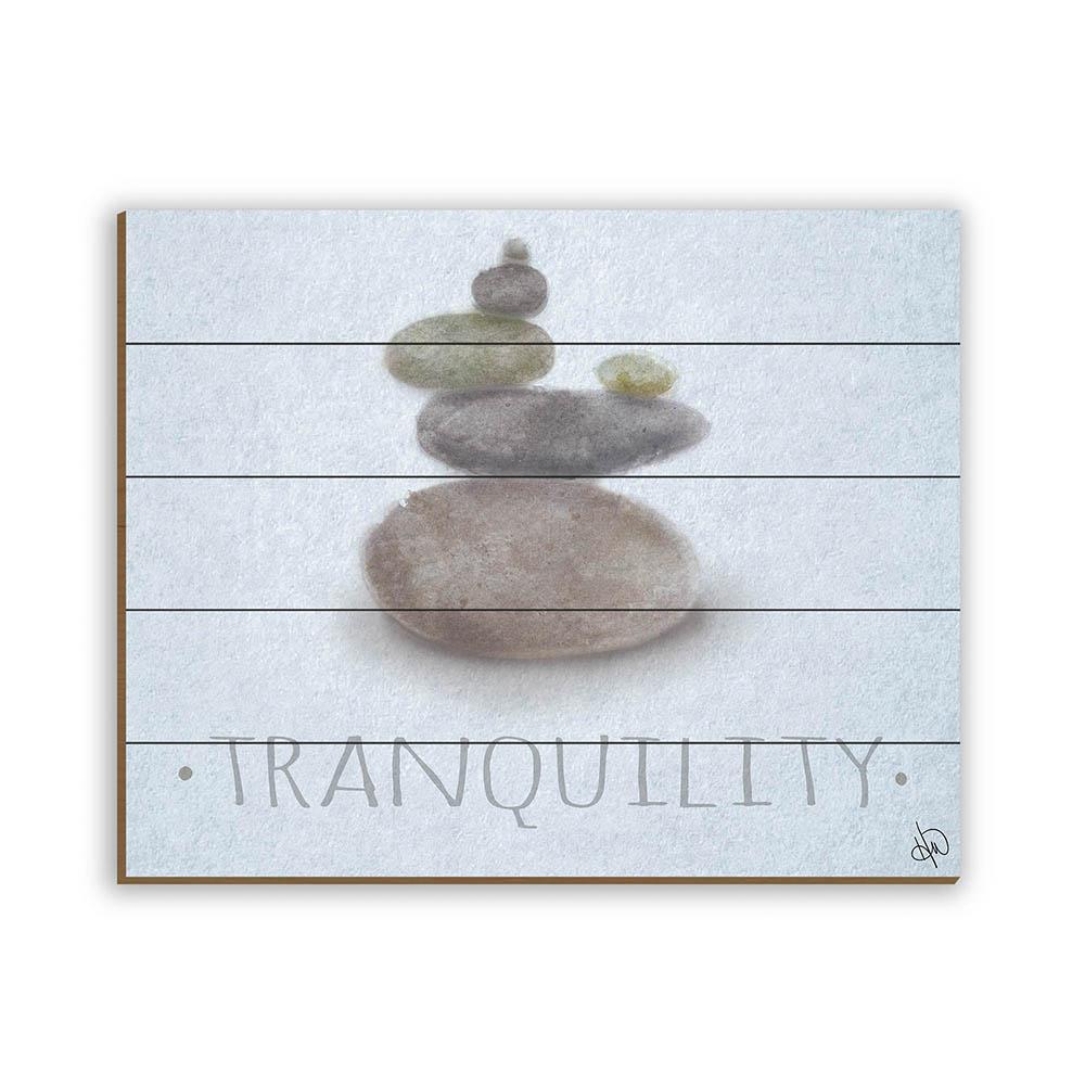 """20 in. x 24 in. """"Zen Stones Beta"""" Planked Wood Wall Art Print"""