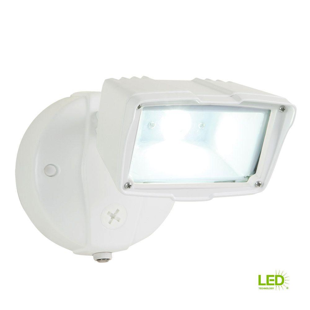 All Pro White Outdoor Integrated Led Small Single Head Security Flood Light With 1400