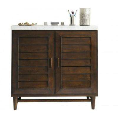 Portland 36 in. W Single Vanity in Burnished Mahogany with Marble Vanity Top in Carrara White with White Basin