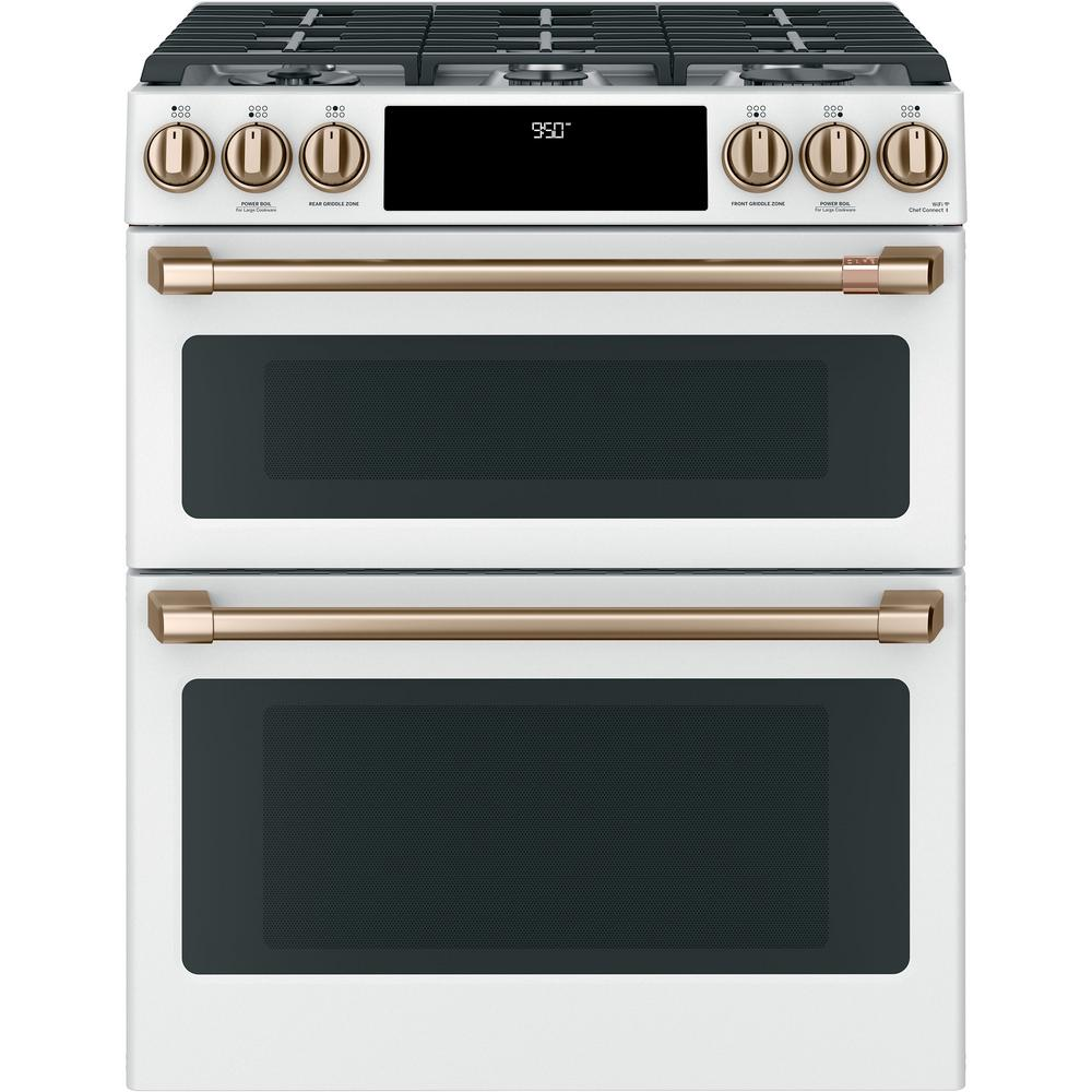 Cafe 30 in. 7.0 cu. ft. Slide-In Double Oven Dual-Fuel Range with Self-Clean Convection in Matte White, Fingerprint Resistant