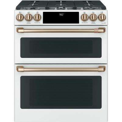 30 in. 7.0 cu. ft. Slide-In Double Oven Dual-Fuel Range with Self-Clean Convection in Matte White, Fingerprint Resistant