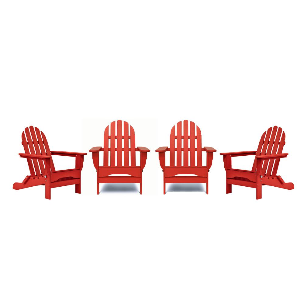 DUROGREEN Icon Bright Red 4-Piece Plastic Adirondack Patio Seating Set
