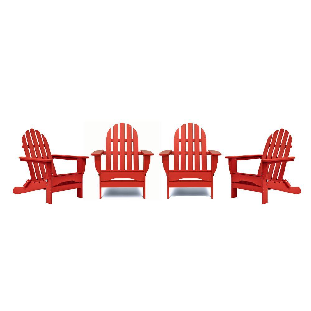 Icon Bright Red 4-Piece Plastic Adirondack Patio Seating Set