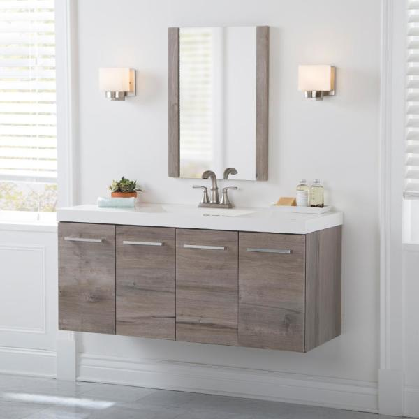 Domani - Stella 49 in. W x 19 in. D Wall Hung Bath Vanity in White Washed Oak with Cultured Marble Vanity Top in White with Sink
