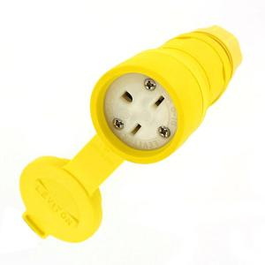 Leviton 15 Amp 250-Volt Wetguard Straight Blade Grounding Connector, Yellow by Leviton