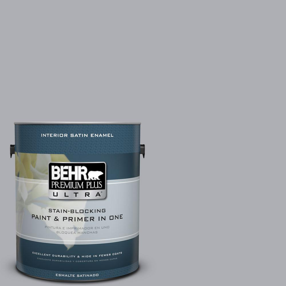 BEHR Premium Plus Ultra 1 gal. #760E-3 Gray Timber Wolf Satin Enamel Interior Paint and Primer in One