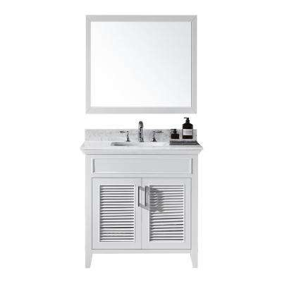 Elise 36 in. W x 22 in. D x 34.21 in. H Bath Vanity in White With White Marble Top With White Basin and Mirror