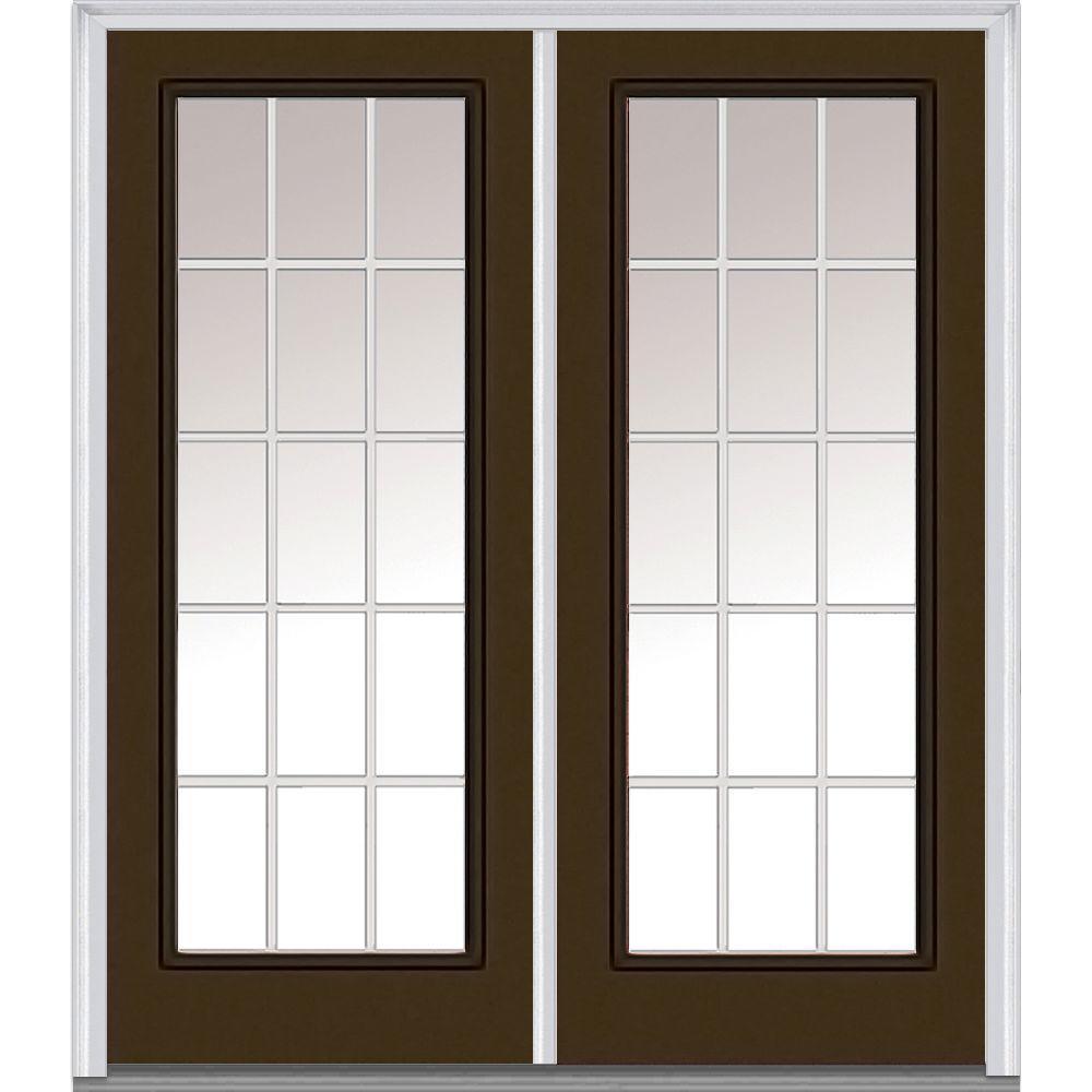 72 in. x 80 in. GBG Left-Hand Full Lite Classic Painted Fiberglass Smooth Prehung Front Door