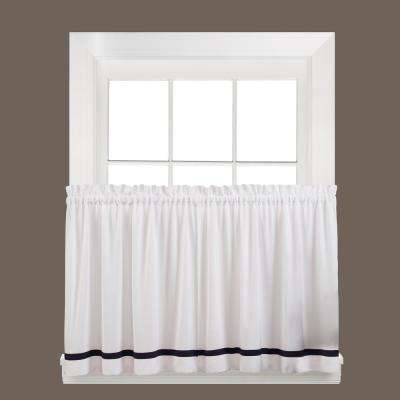 Semi-Opaque Kate 24 in. L Polyester Tier Curtain in Black (2-Pack)