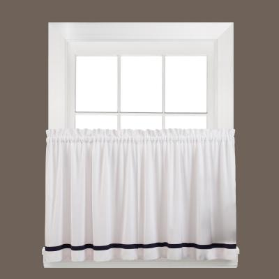 Kate 24 in. L Polyester Tier Curtain in Black (2-Pack)