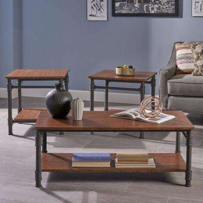 Cagny Industrial 3-Piece Teak Brown Faux Wood and Gray Metal Table Set