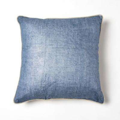 Metallic Linen Navy Solid Polyester 18 in. x 18 in. Throw Pillow
