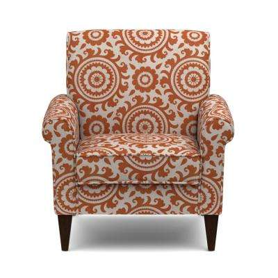Jean Orange and Cream Medallion Arm Chair